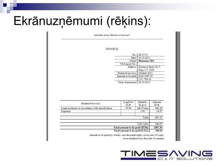 Ekrānuzņēmumi (rēķins):