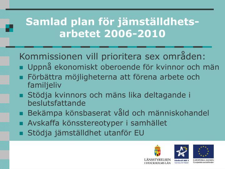 Samlad plan för jämställdhets-arbetet 2006-2010