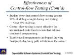 effectiveness of control flow testing cont d