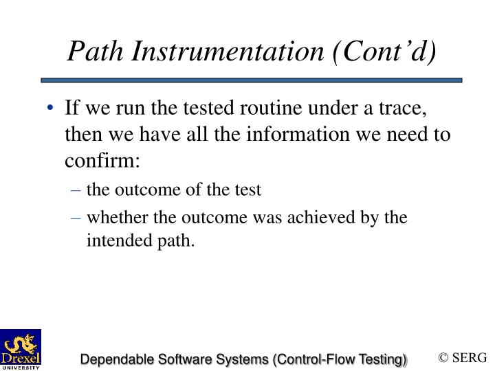 Path Instrumentation (Cont'd)