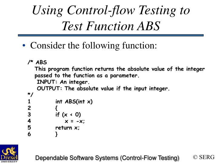 Using Control-flow Testing to Test Function ABS
