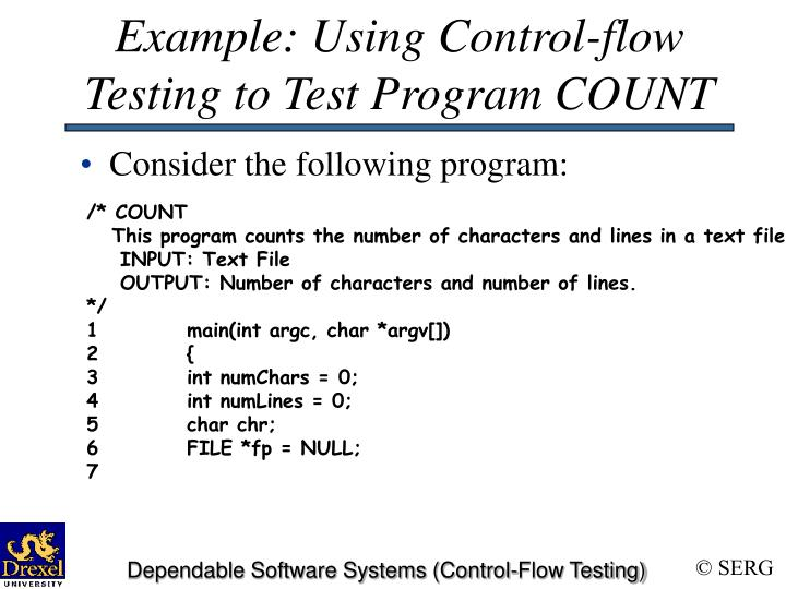 Example: Using Control-flow Testing to Test Program COUNT