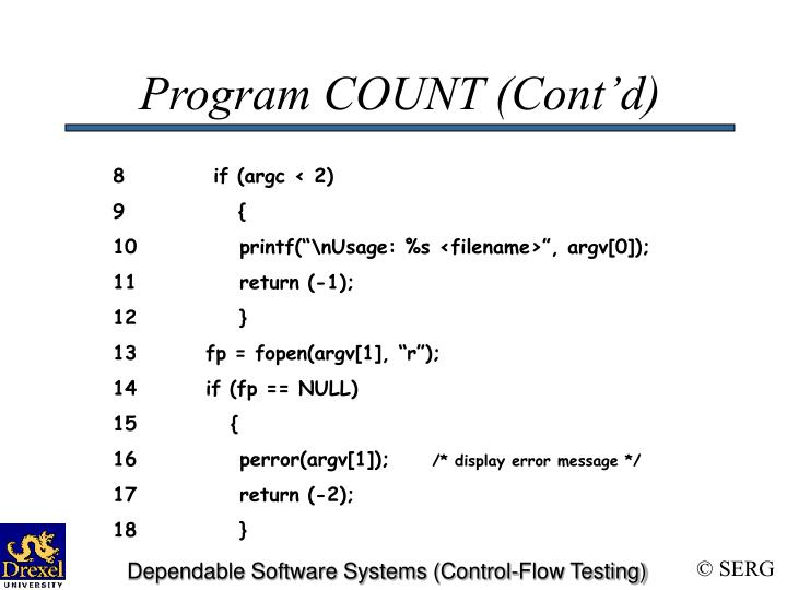 Program COUNT (Cont'd)