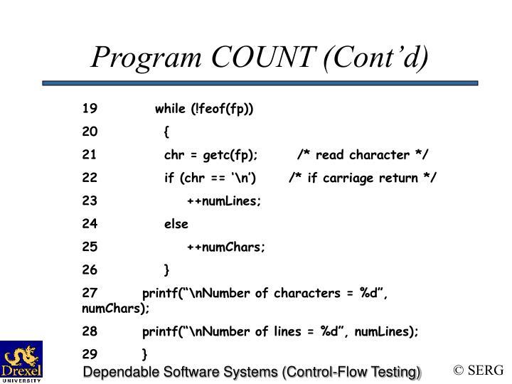 Program COUNT (Cont'd)