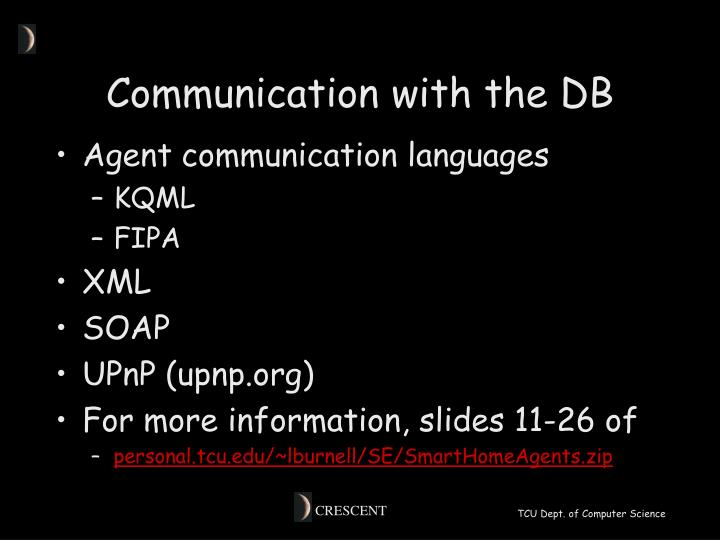 Communication with the DB