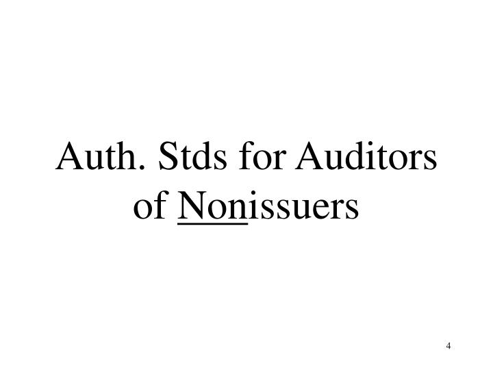 Auth. Stds for Auditors