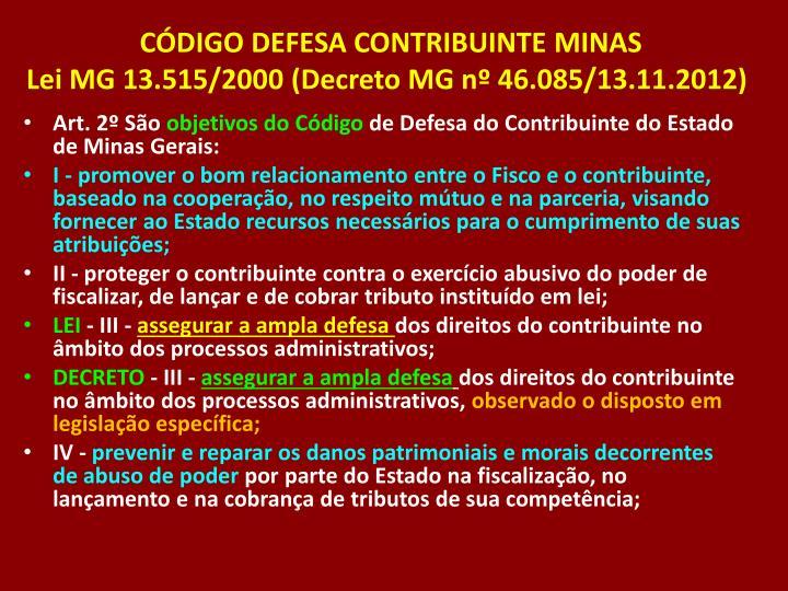 CÓDIGO DEFESA CONTRIBUINTE MINAS