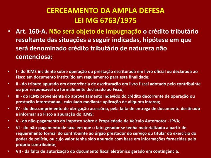 CERCEAMENTO DA AMPLA DEFESA