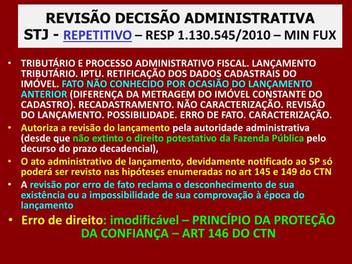 REVISÃO DECISÃO ADMINISTRATIVA