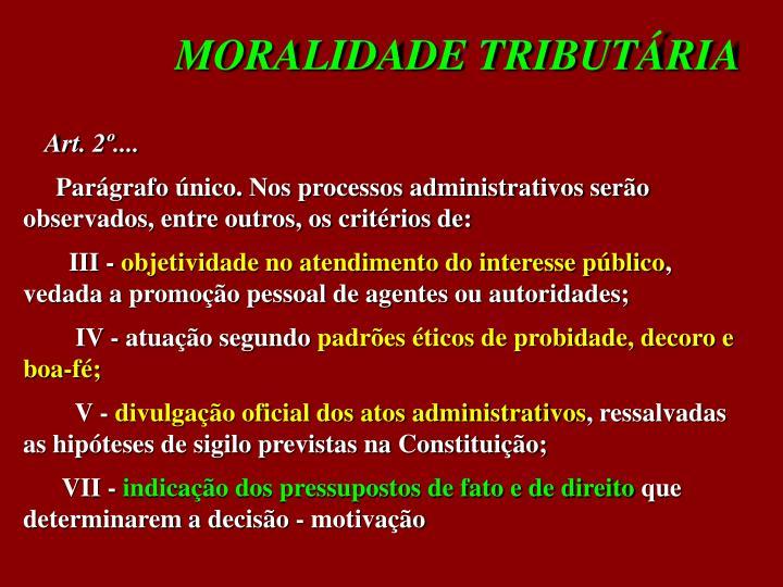 MORALIDADE TRIBUTÁRIA
