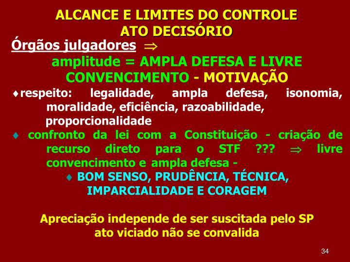 ALCANCE E LIMITES DO CONTROLE