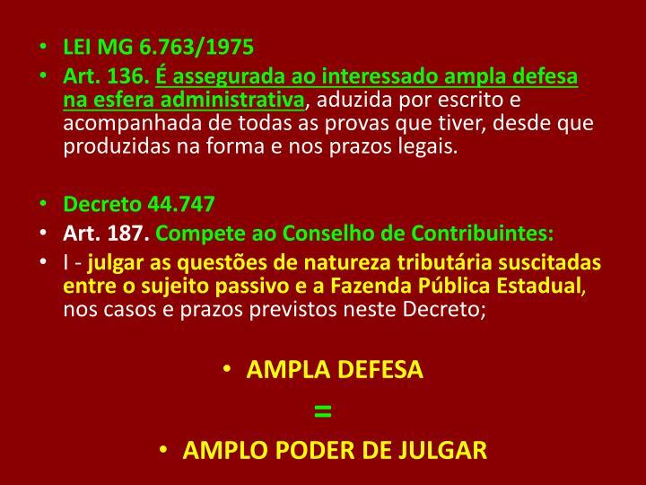 LEI MG 6.763/1975