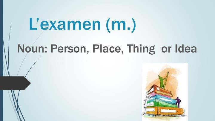L'examen (m.)