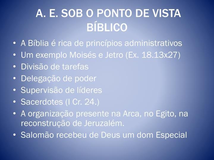 A. E. SOB O PONTO DE VISTA BÍBLICO