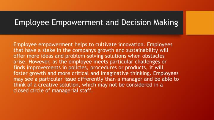 Employee Empowerment and Decision Making