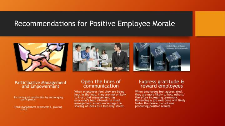Recommendations for Positive Employee Morale