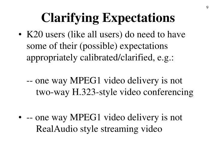 Clarifying Expectations