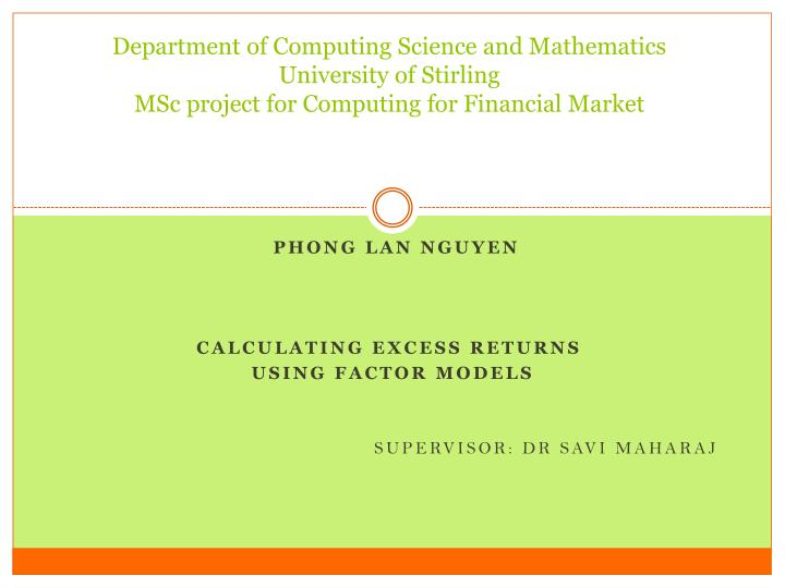 Department of Computing Science and Mathematics