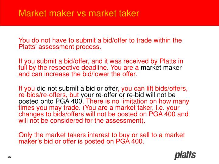 Market maker vs market taker