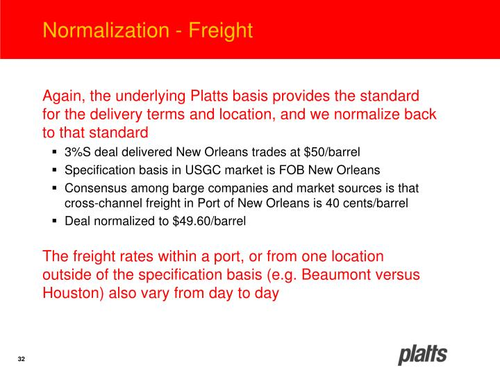 Normalization - Freight
