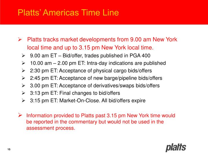 Platts' Americas Time Line