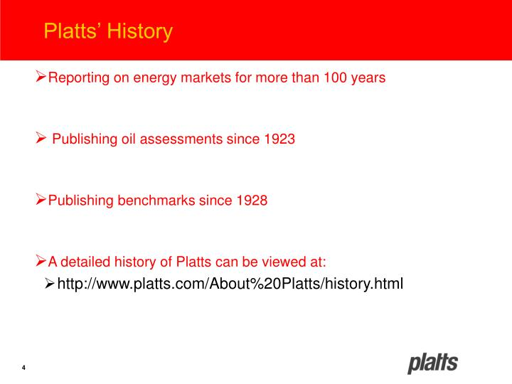Platts' History