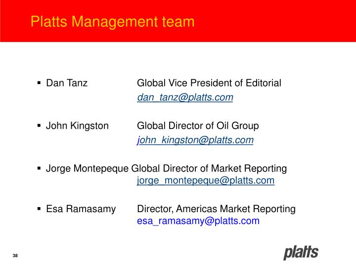 Platts Management team
