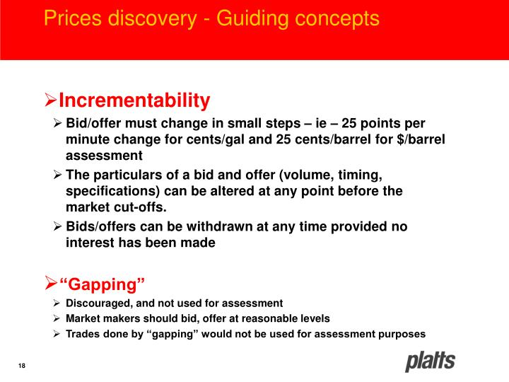 Prices discovery - Guiding concepts