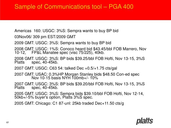 Sample of Communications tool – PGA 400