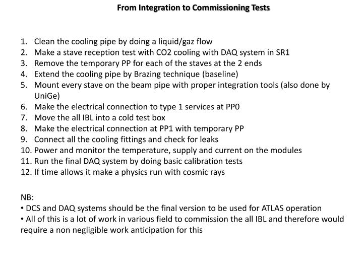 From Integration to Commissioning Tests