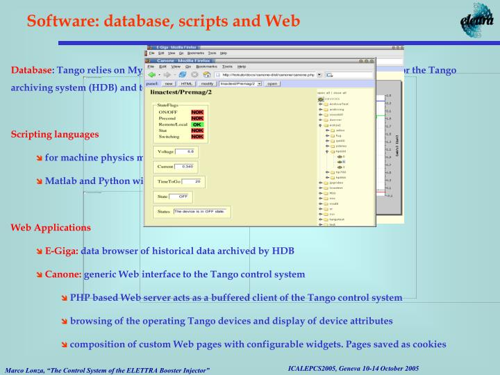 Software: database, scripts and Web