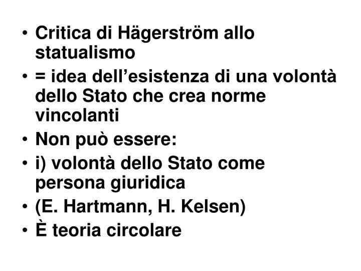 Critica di Hägerström allo statualismo
