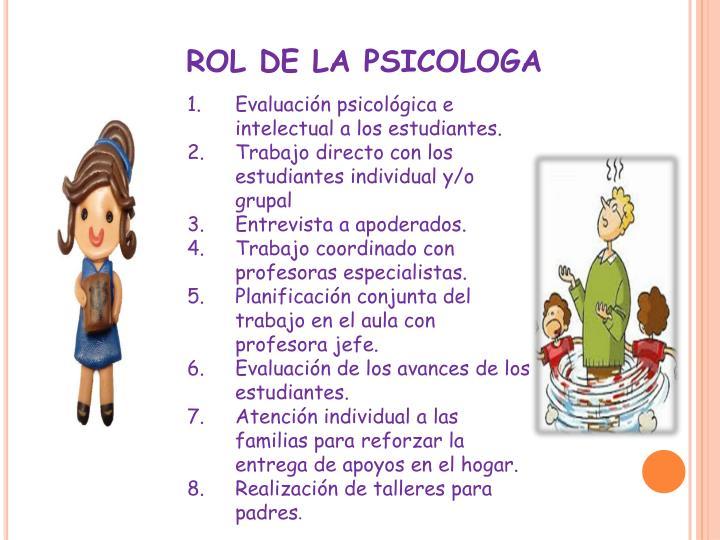 ROL DE LA PSICOLOGA