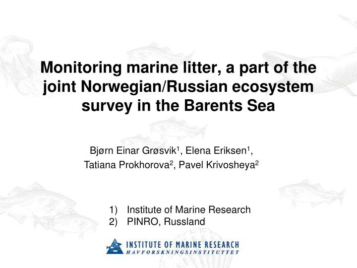 Monitoring marine litter a part of the joint norwegian russian ecosystem survey in the barents sea