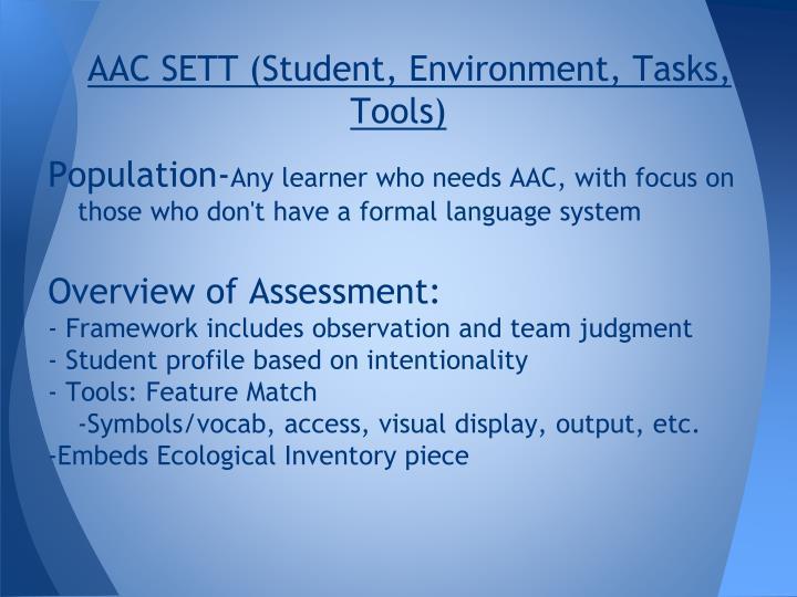 AAC SETT (Student, Environment, Tasks, Tools)
