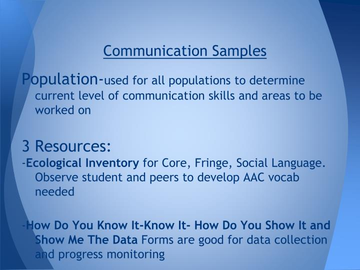 Communication Samples