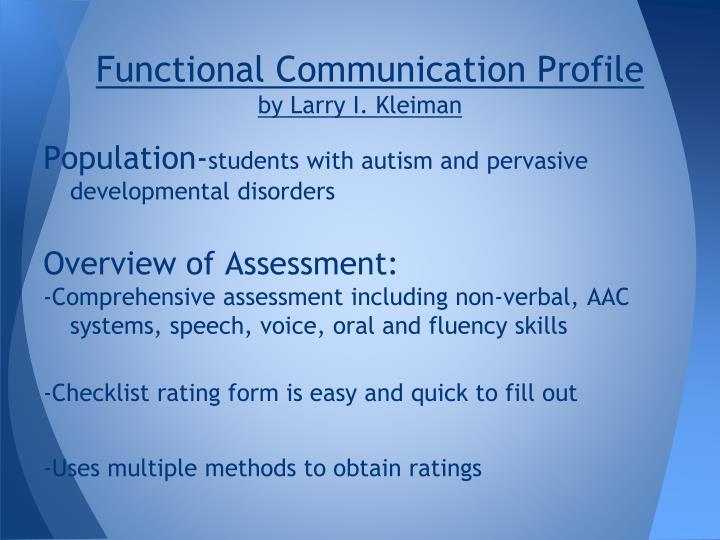 Functional Communication Profile
