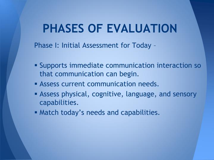 PHASES OF EVALUATION