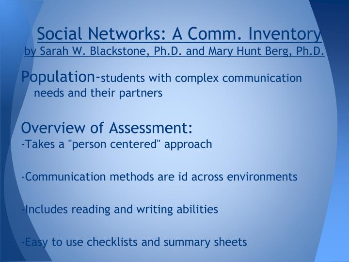 Social Networks: A Comm. Inventory
