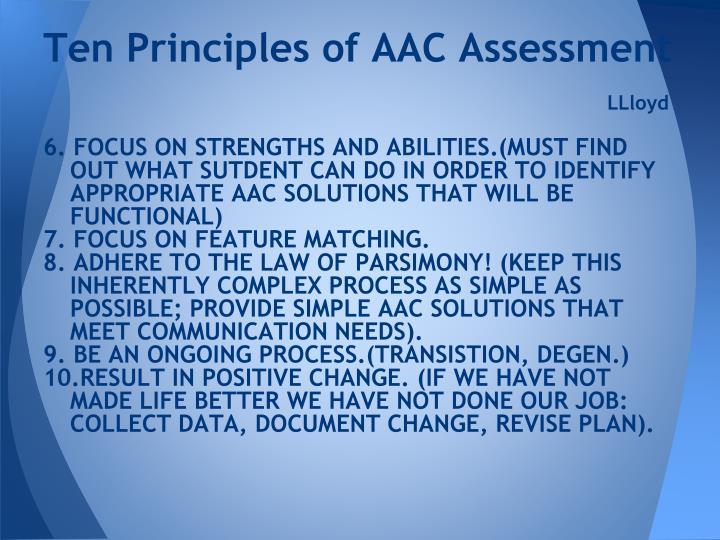 Ten Principles of AAC Assessment