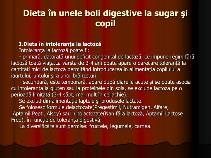 Dieta în unele boli digestive la sugar şi copil