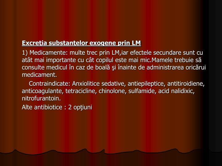 Excreţia substanţelor exogene prin LM