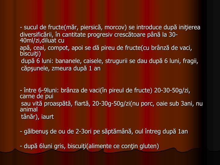 - sucul de fructe(măr,