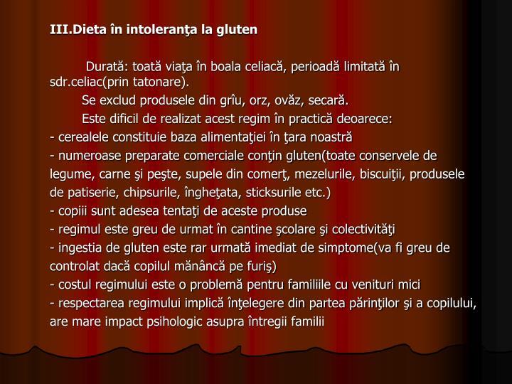 III.Dieta în intoleranţa la gluten