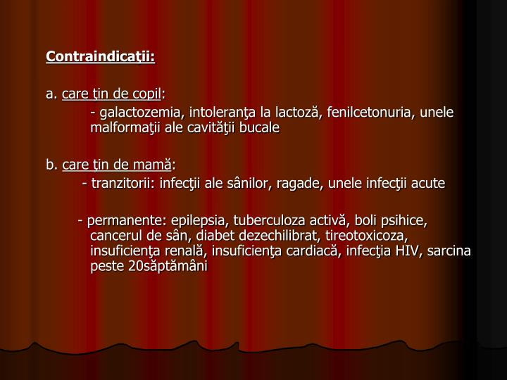 Contraindicaţii:
