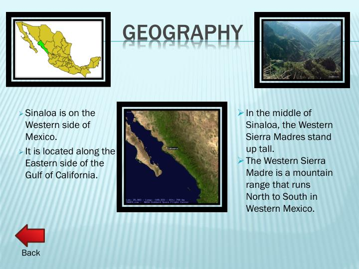 Sinaloa is on the Western side of Mexico.