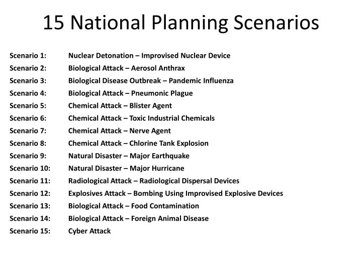 15 National Planning Scenarios
