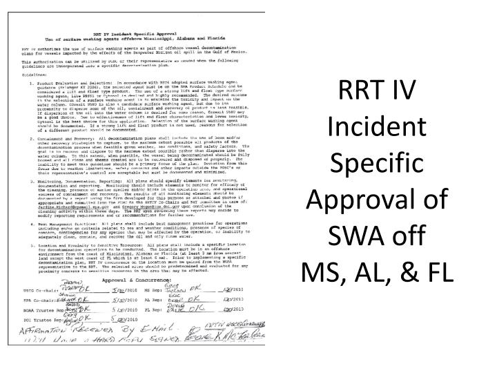 RRT IV Incident Specific Approval of SWA off