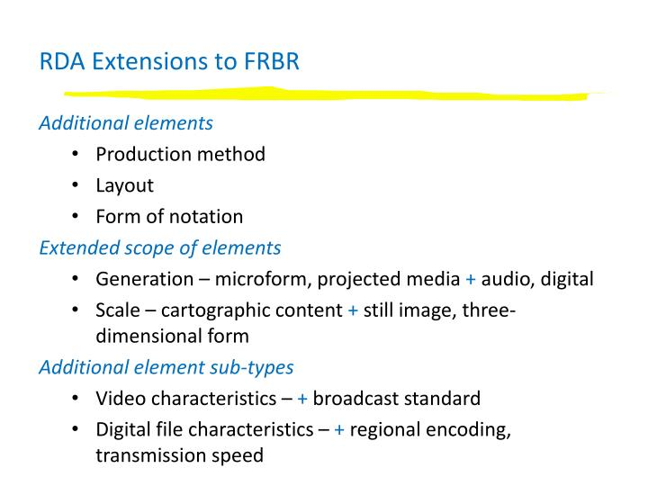 RDA Extensions to FRBR