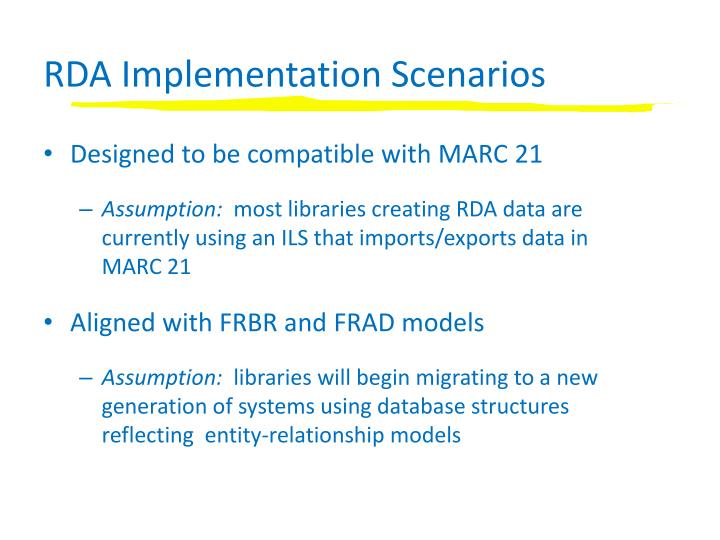 RDA Implementation Scenarios